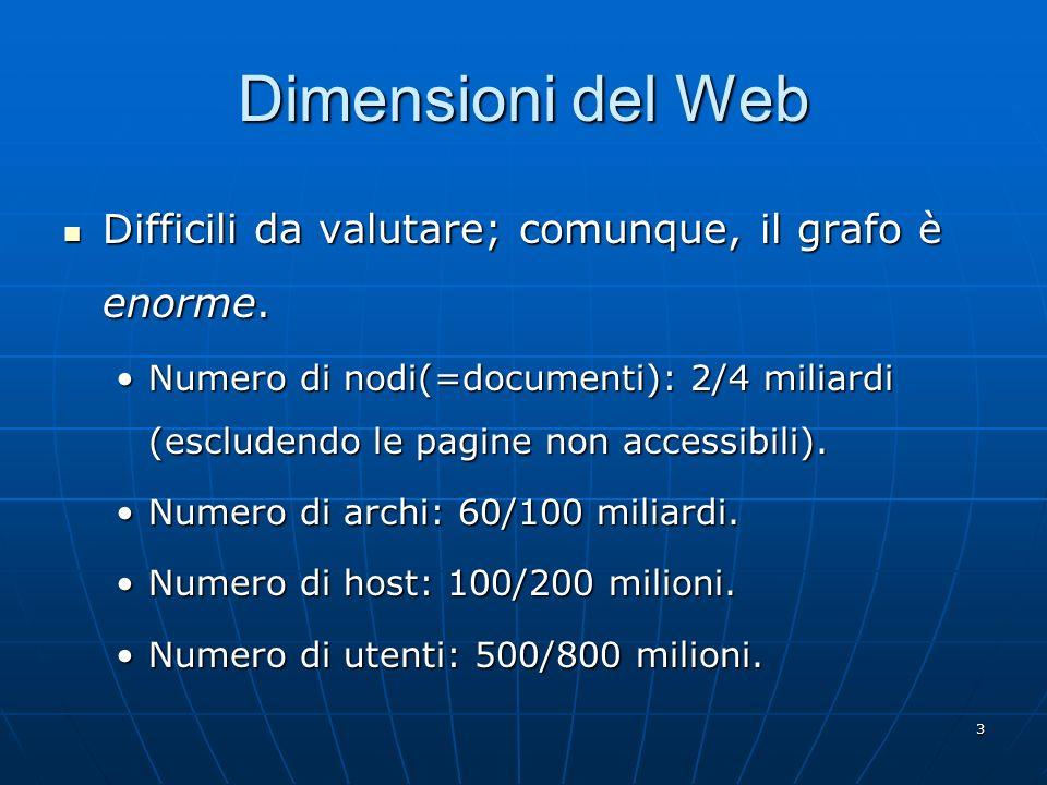 Dimensioni del Web Difficili da valutare; comunque, il grafo è enorme.