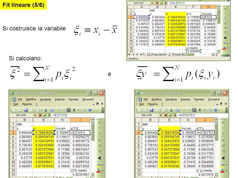 Fit lineare (5/6) Si costruisce la variabile Si calcolano: e
