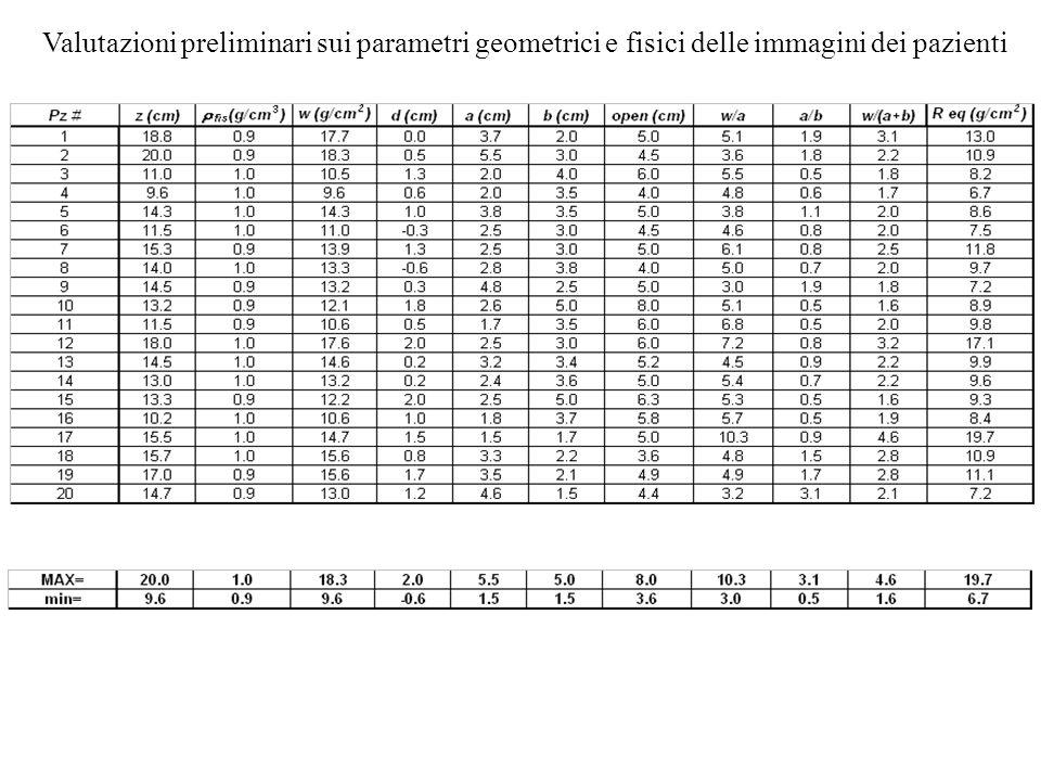 Valutazioni preliminari sui parametri geometrici e fisici delle immagini dei pazienti