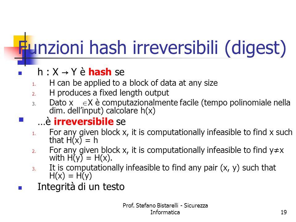 Funzioni hash irreversibili (digest)