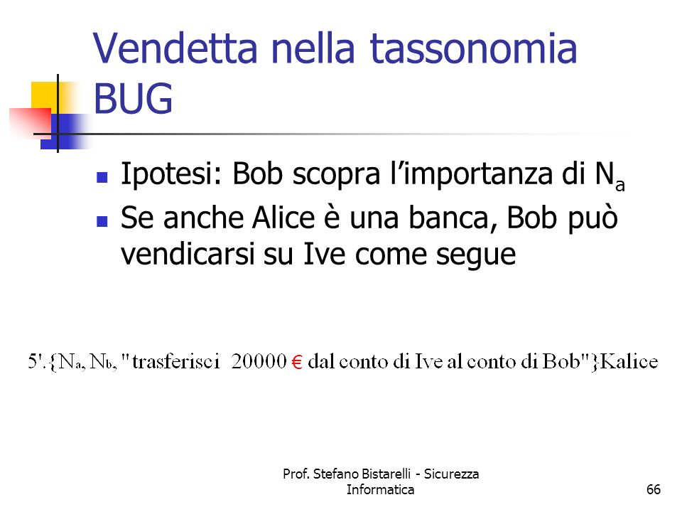 Vendetta nella tassonomia BUG
