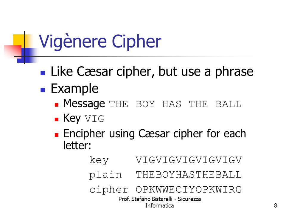 Vigènere Cipher Like Cæsar cipher, but use a phrase Example