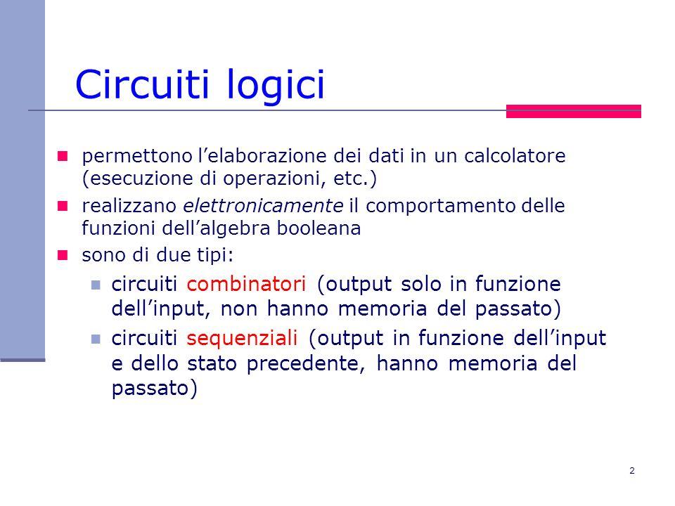 Circuiti logici permettono l'elaborazione dei dati in un calcolatore (esecuzione di operazioni, etc.)