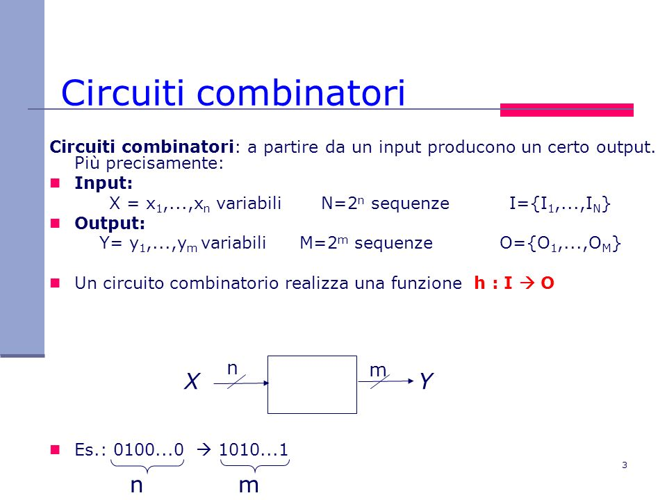 Circuiti combinatori X Y n m n m