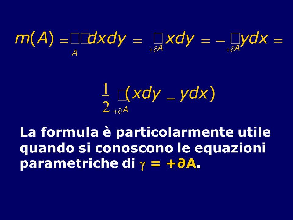m( A. ) = d. x. y. - +¶ ò. òò. 1. 2. ( x. d. y. - ) +¶ A. ò. La formula è particolarmente utile. quando si conoscono le equazioni.