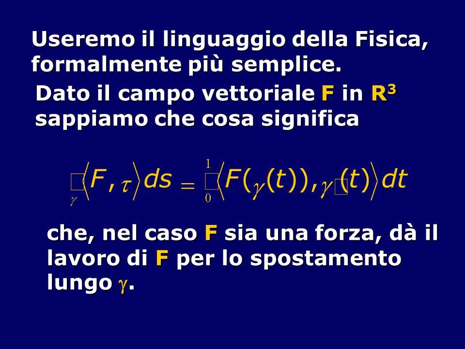 ò F , t d s = ( )), ¢ ) Useremo il linguaggio della Fisica,
