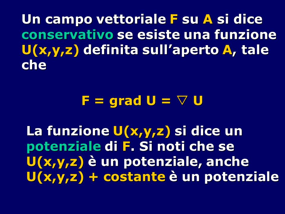Un campo vettoriale F su A si dice