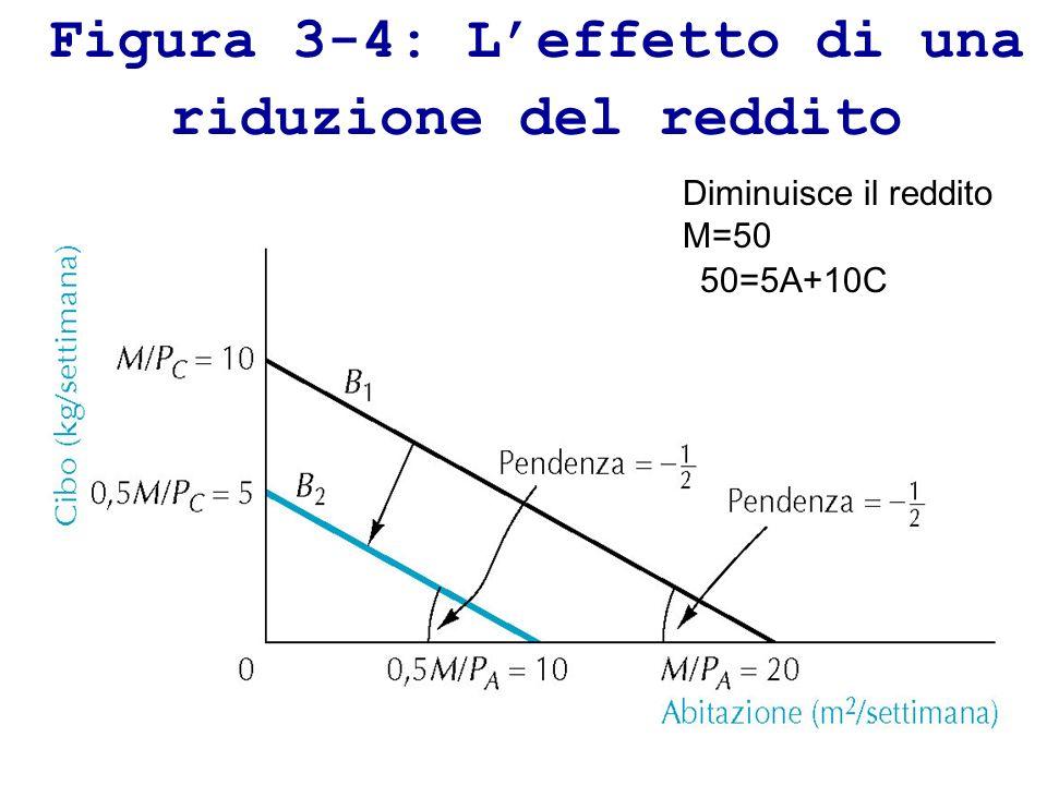 Figura 3-4: L'effetto di una riduzione del reddito