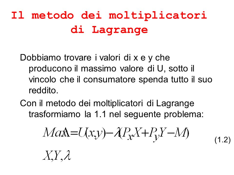 Il metodo dei moltiplicatori di Lagrange