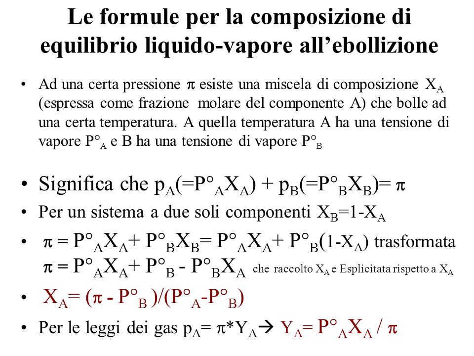 Le formule per la composizione di equilibrio liquido-vapore all'ebollizione