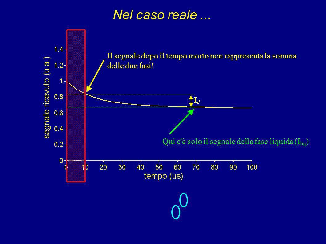 Nel caso reale ... Il segnale dopo il tempo morto non rappresenta la somma. delle due fasi! Qui c è solo il segnale della fase liquida (Iliq)