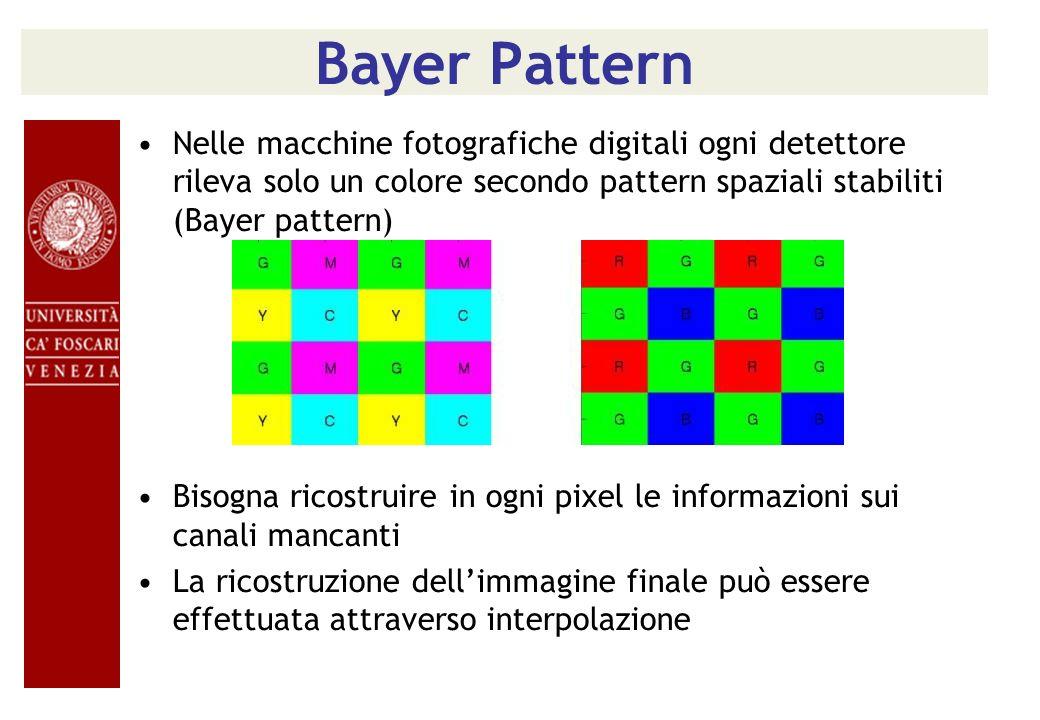 Bayer Pattern Nelle macchine fotografiche digitali ogni detettore rileva solo un colore secondo pattern spaziali stabiliti (Bayer pattern)