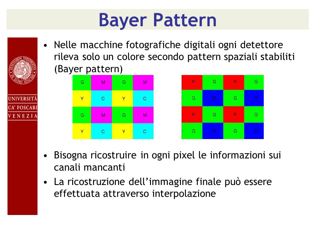 Bayer PatternNelle macchine fotografiche digitali ogni detettore rileva solo un colore secondo pattern spaziali stabiliti (Bayer pattern)