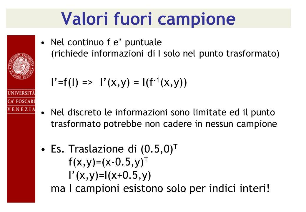 Valori fuori campione Nel continuo f e' puntuale (richiede informazioni di I solo nel punto trasformato)