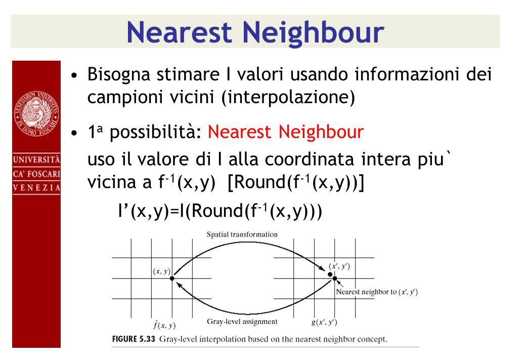 Nearest NeighbourBisogna stimare I valori usando informazioni dei campioni vicini (interpolazione) 1a possibilità: Nearest Neighbour.