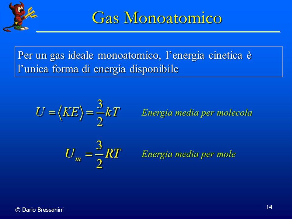 Gas Monoatomico Per un gas ideale monoatomico, l'energia cinetica è l'unica forma di energia disponibile.