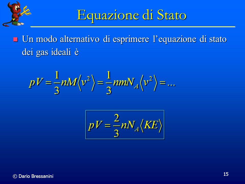 Equazione di Stato Un modo alternativo di esprimere l'equazione di stato dei gas ideali è.