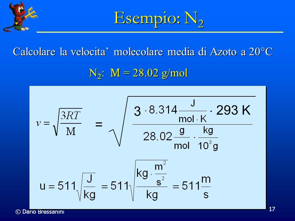 Esempio: N2 Calcolare la velocita' molecolare media di Azoto a 20C. N2: M = 28.02 g/mol. = 3.  293 K.