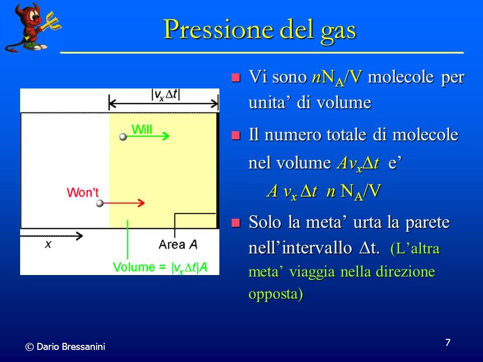 Pressione del gas Vi sono nNA/V molecole per unita' di volume