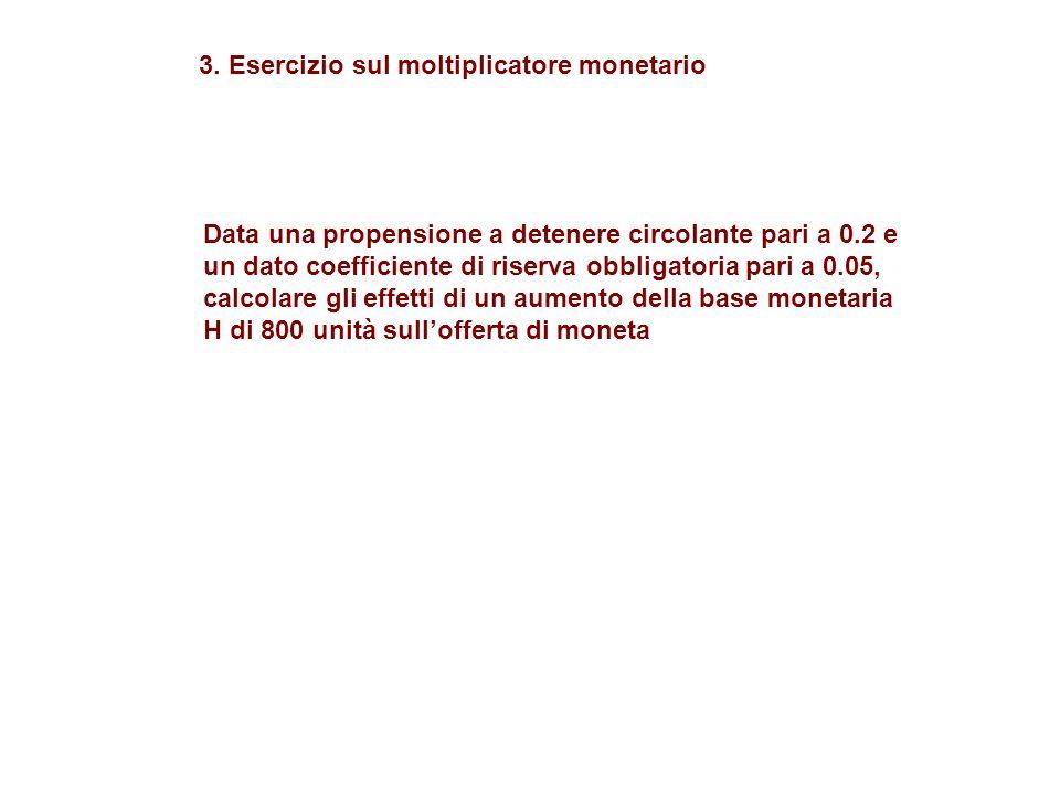 3. Esercizio sul moltiplicatore monetario