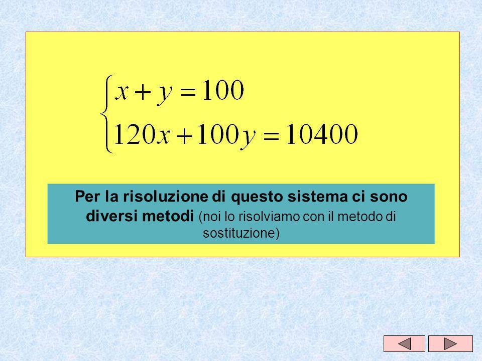 Per la risoluzione di questo sistema ci sono diversi metodi (noi lo risolviamo con il metodo di sostituzione)