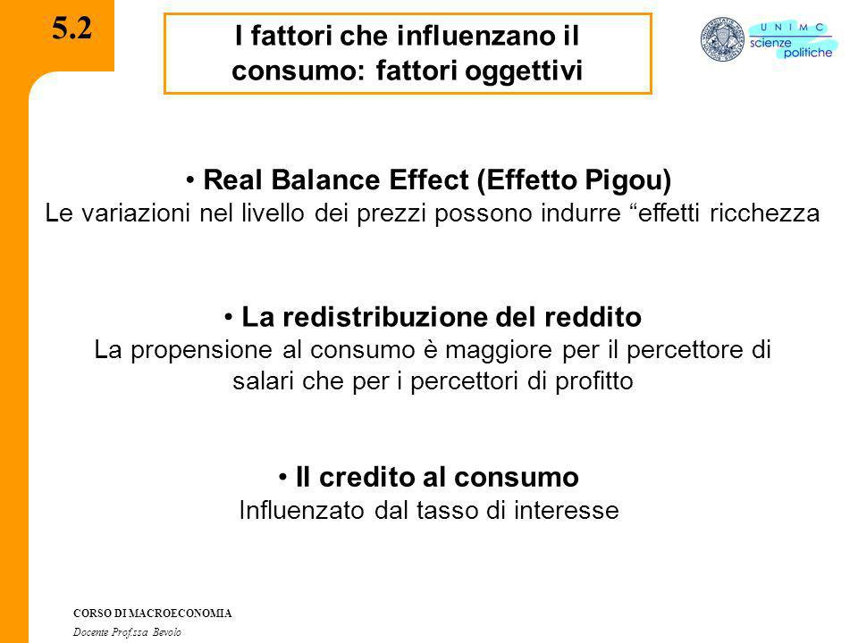 5.2 I fattori che influenzano il consumo: fattori oggettivi