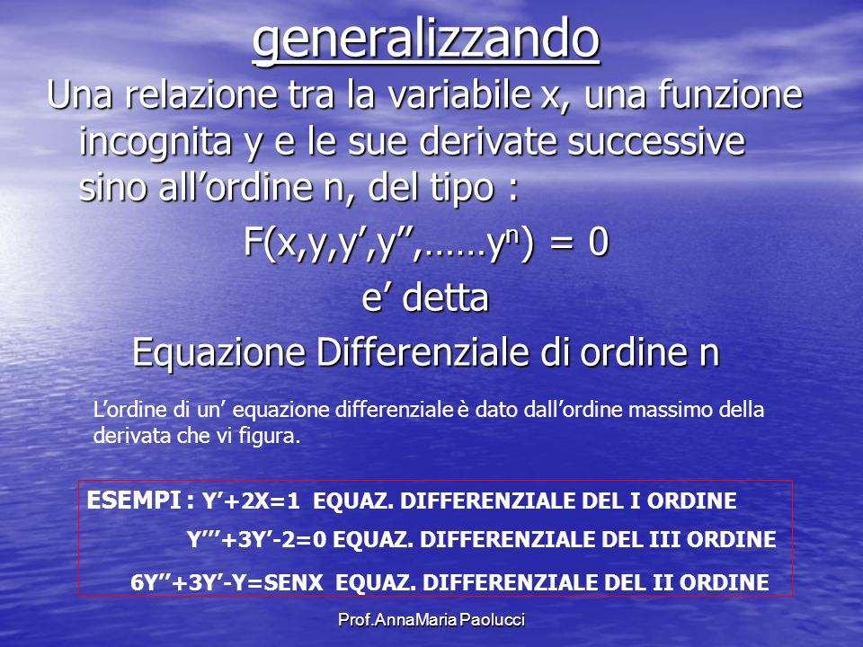 generalizzando Una relazione tra la variabile x, una funzione incognita y e le sue derivate successive sino all'ordine n, del tipo :