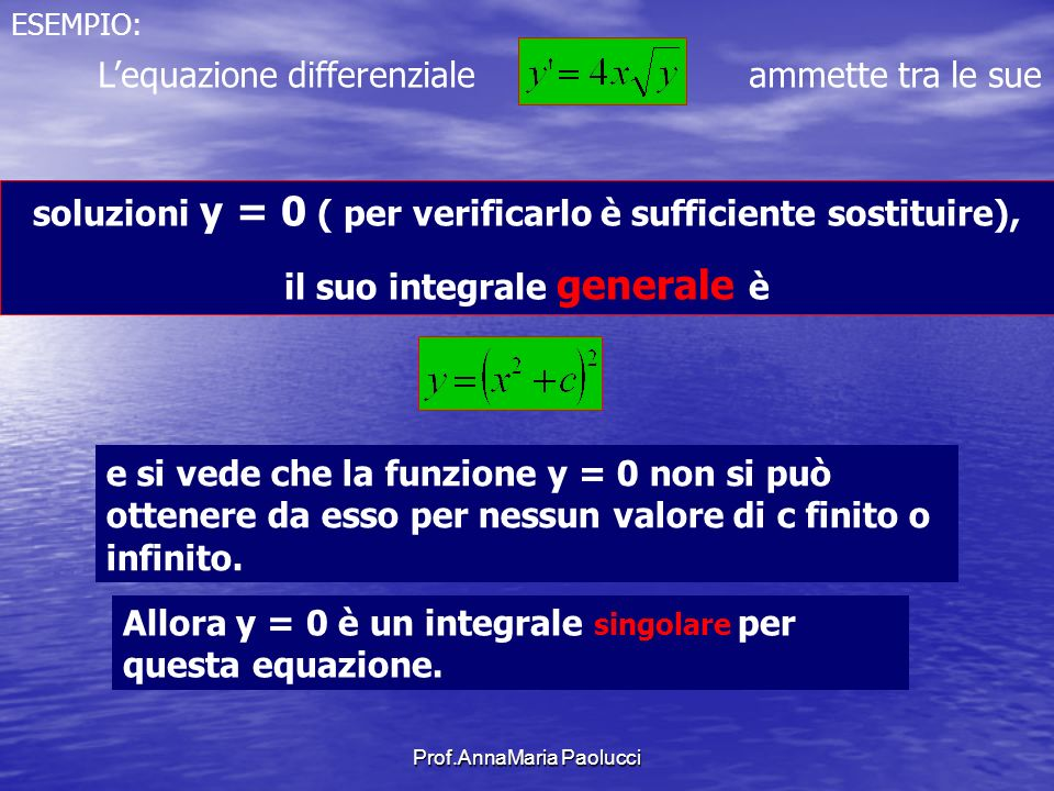 L'equazione differenziale ammette tra le sue