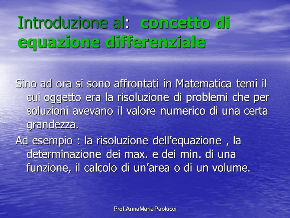 Introduzione al: concetto di equazione differenziale