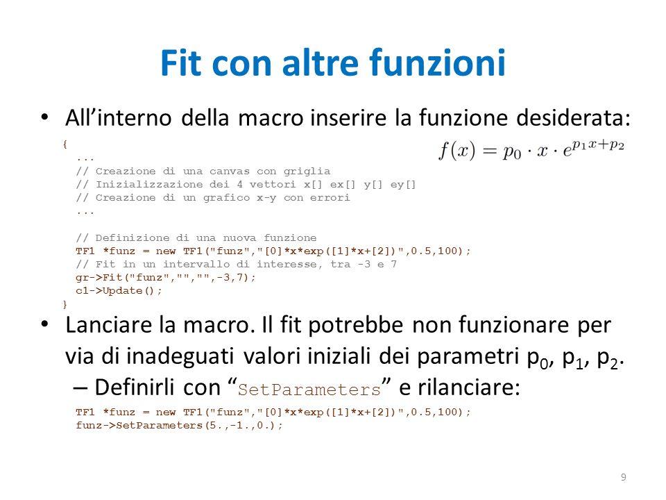 Fit con altre funzioni All'interno della macro inserire la funzione desiderata: