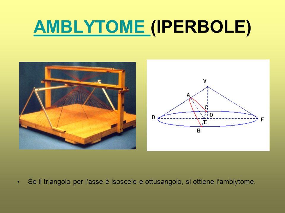 AMBLYTOME (IPERBOLE) Se il triangolo per l'asse è isoscele e ottusangolo, si ottiene l'amblytome.