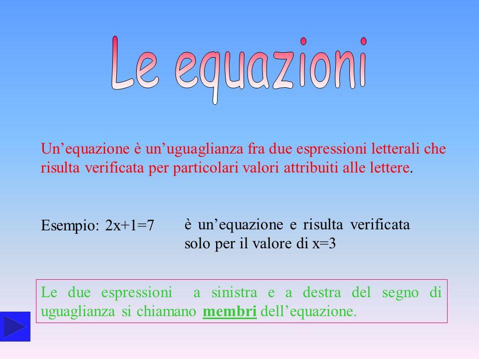 Le equazioni Un'equazione è un'uguaglianza fra due espressioni letterali che risulta verificata per particolari valori attribuiti alle lettere.