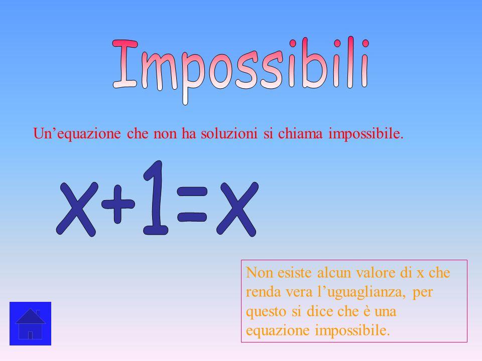 ImpossibiliUn'equazione che non ha soluzioni si chiama impossibile. x+1=x.