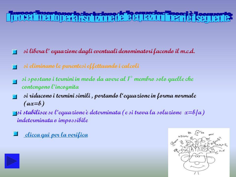 Il procedimento per la risoluzione delle equazioni lineari è il seguente: