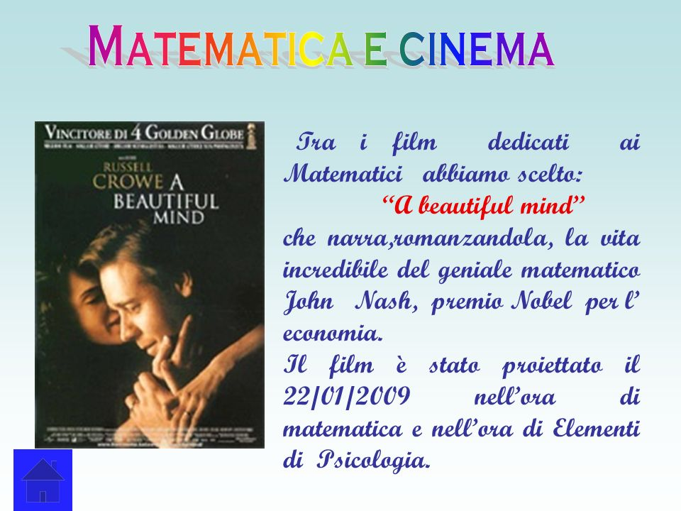 Matematica e cinema Tra i film dedicati ai Matematici abbiamo scelto: