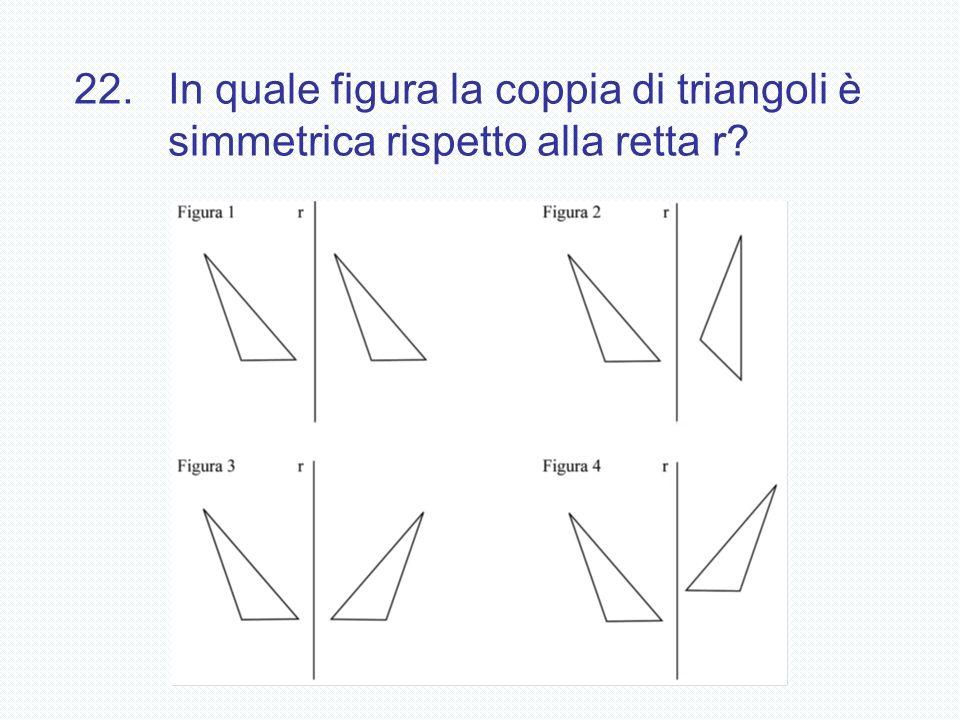 22. In quale figura la coppia di triangoli è simmetrica rispetto alla retta r