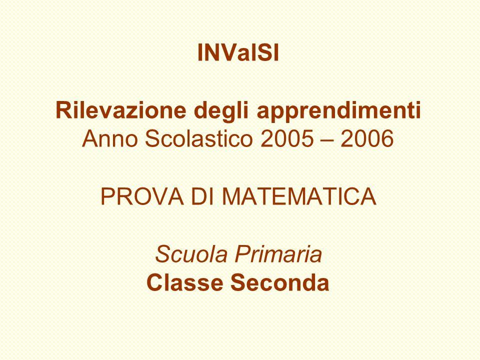 INValSI Rilevazione degli apprendimenti Anno Scolastico 2005 – 2006 PROVA DI MATEMATICA Scuola Primaria Classe Seconda