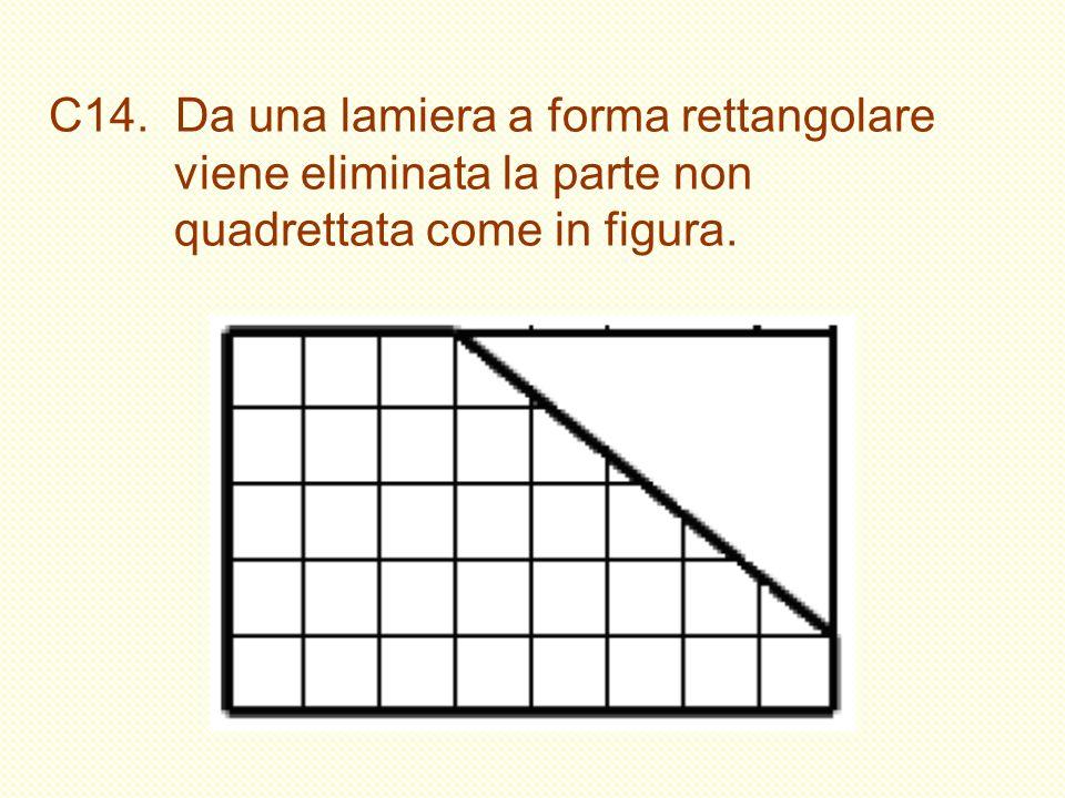 C14. Da una lamiera a forma rettangolare viene eliminata la parte non quadrettata come in figura.