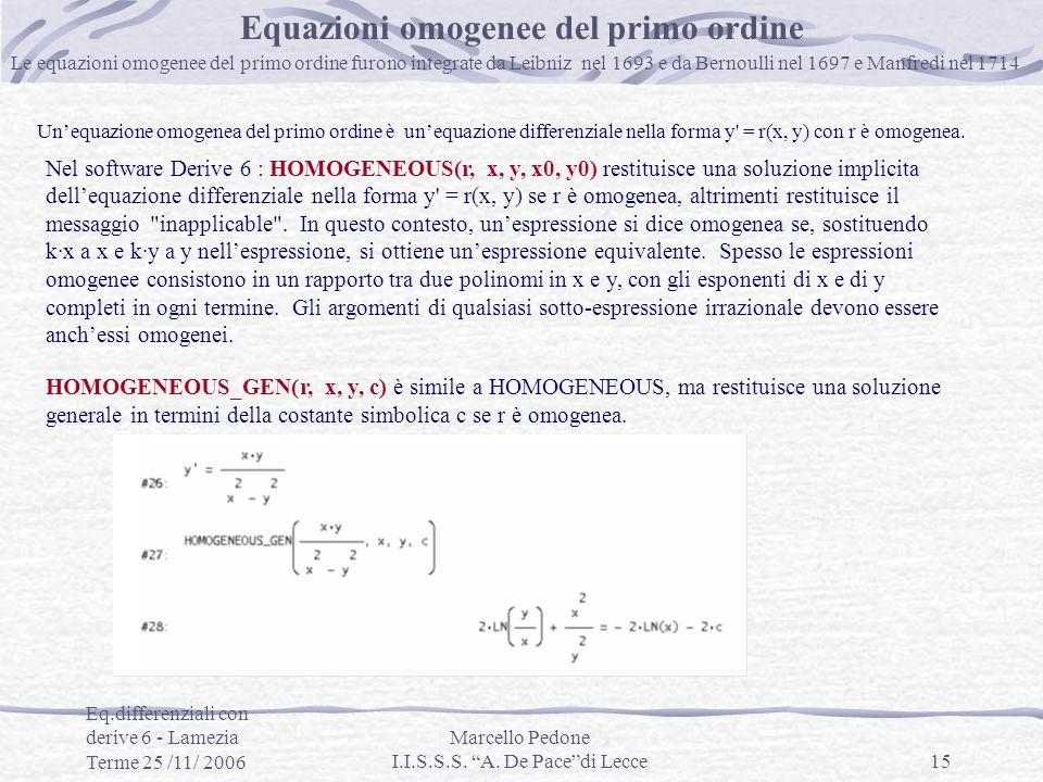 Equazioni omogenee del primo ordine