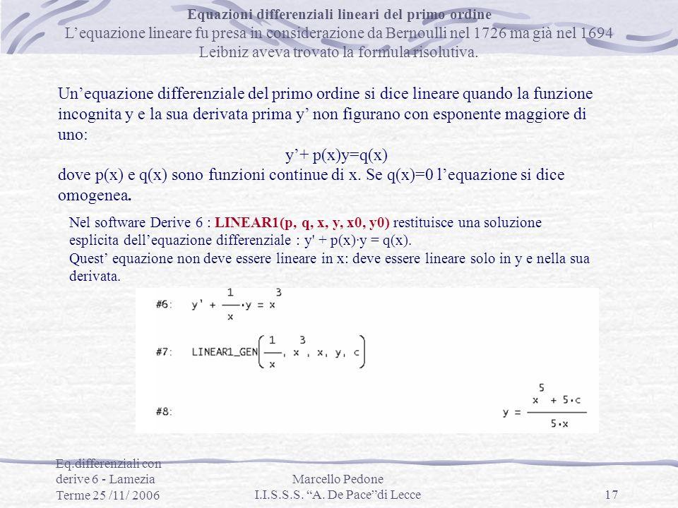 Equazioni differenziali lineari del primo ordine