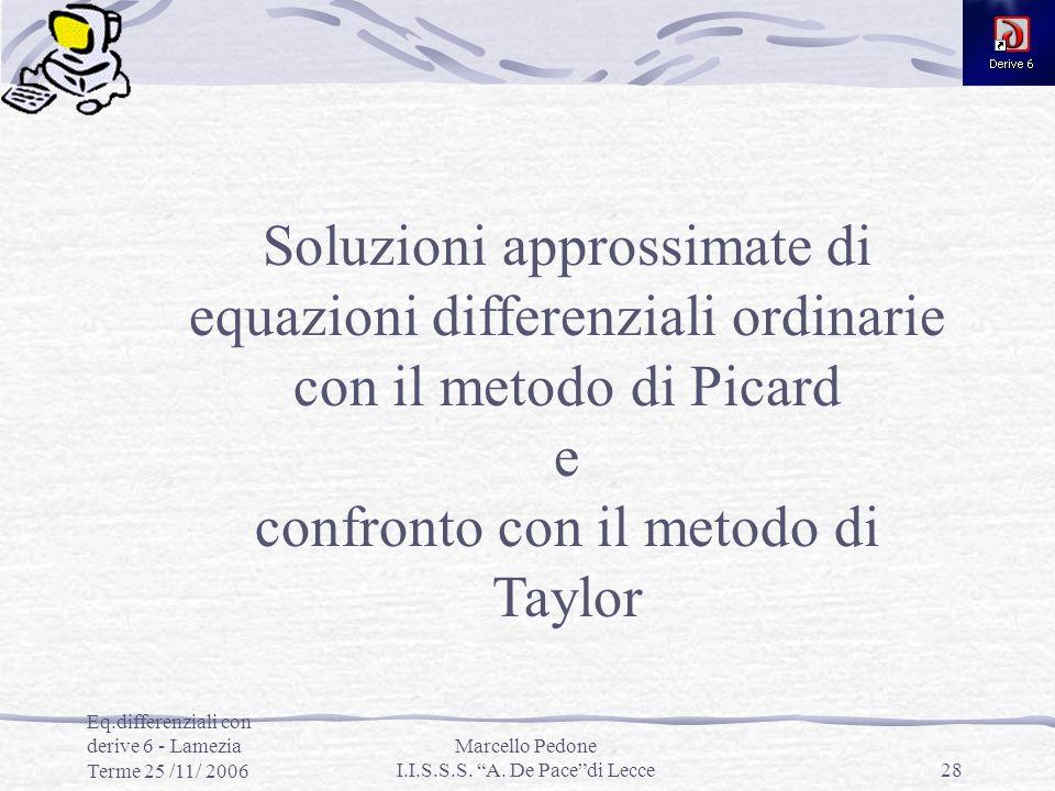 confronto con il metodo di Taylor