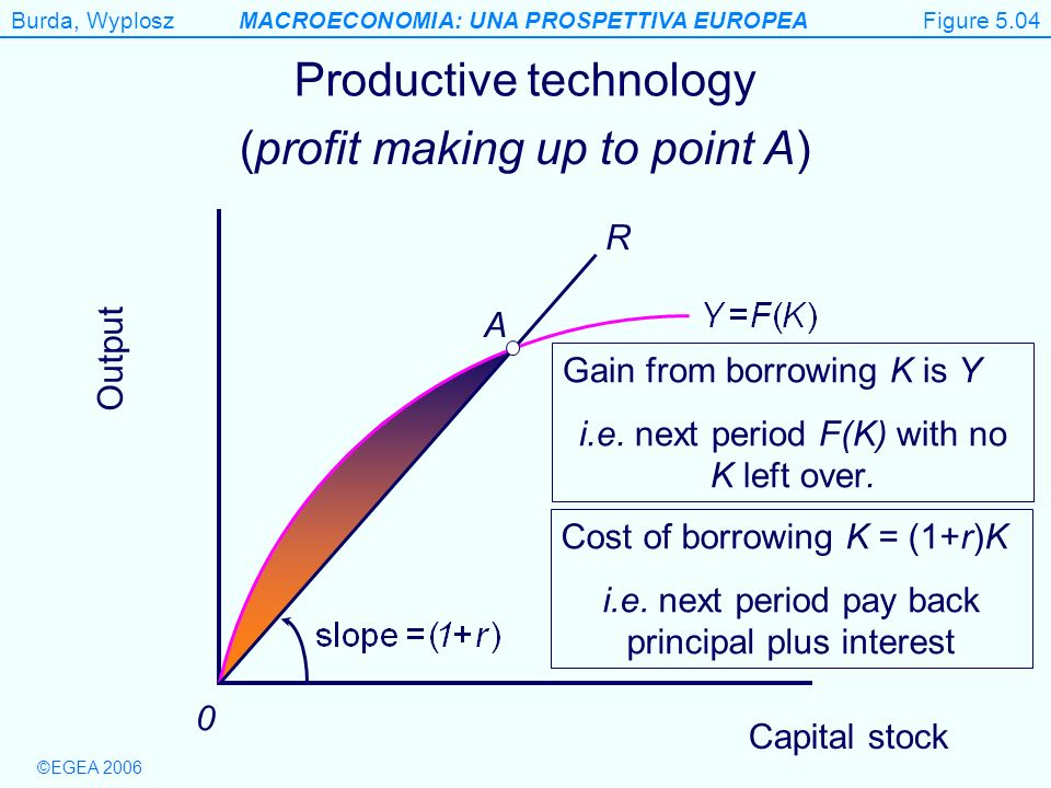 Figure 5.4 Productive technology (profit making up to point A) R A