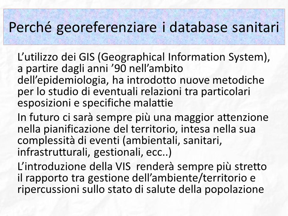 Perché georeferenziare i database sanitari