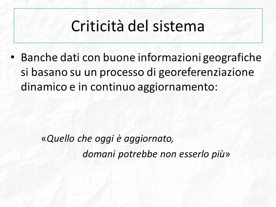 Criticità del sistema