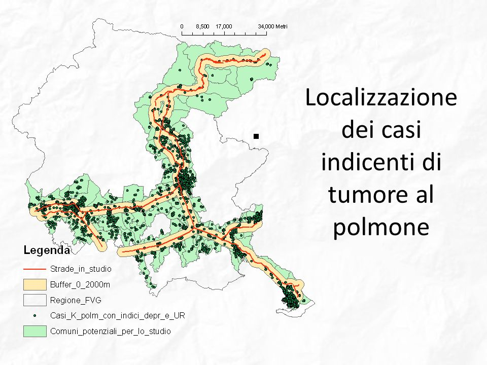 Localizzazione dei casi indicenti di tumore al polmone