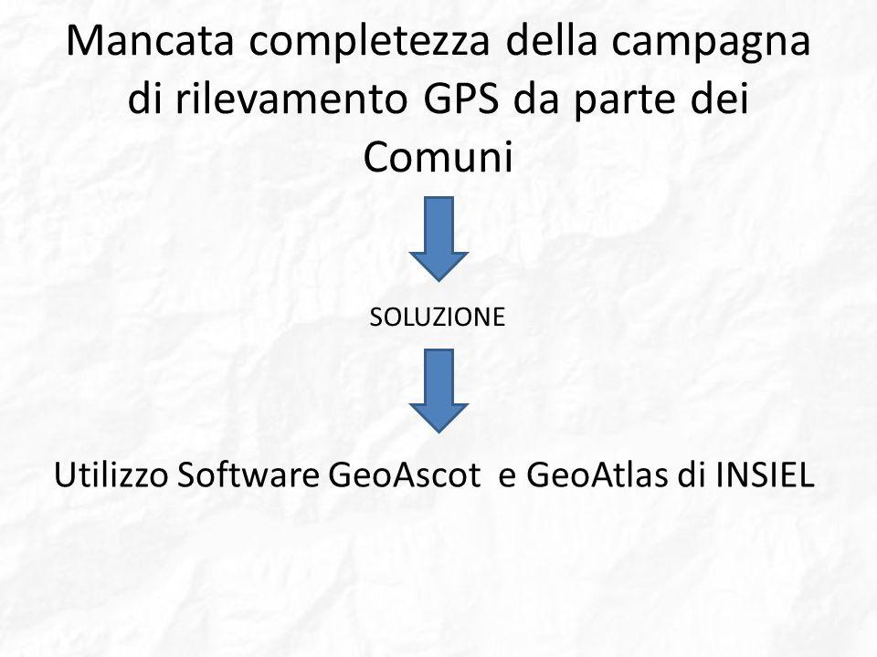 Mancata completezza della campagna di rilevamento GPS da parte dei Comuni