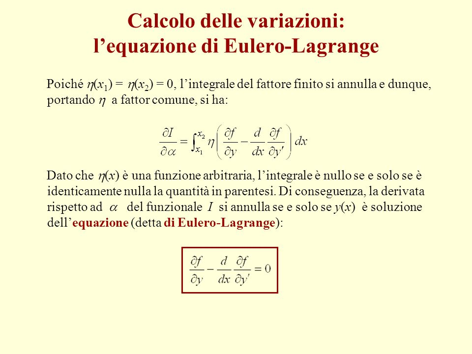 Calcolo delle variazioni: l'equazione di Eulero-Lagrange