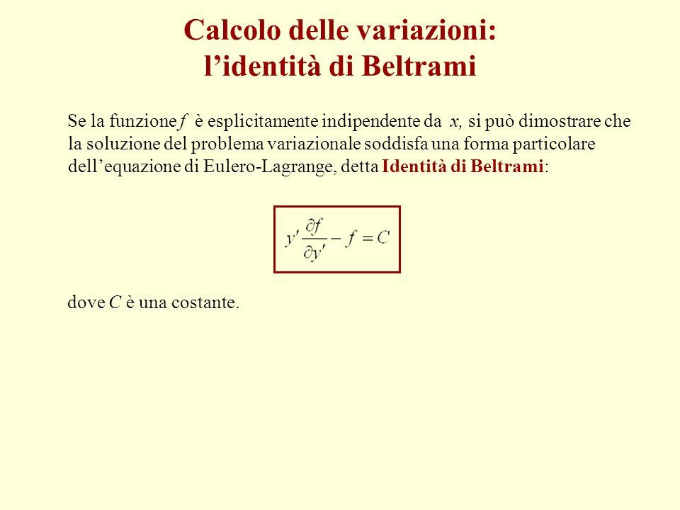 Calcolo delle variazioni: l'identità di Beltrami