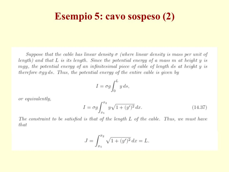 Esempio 5: cavo sospeso (2)