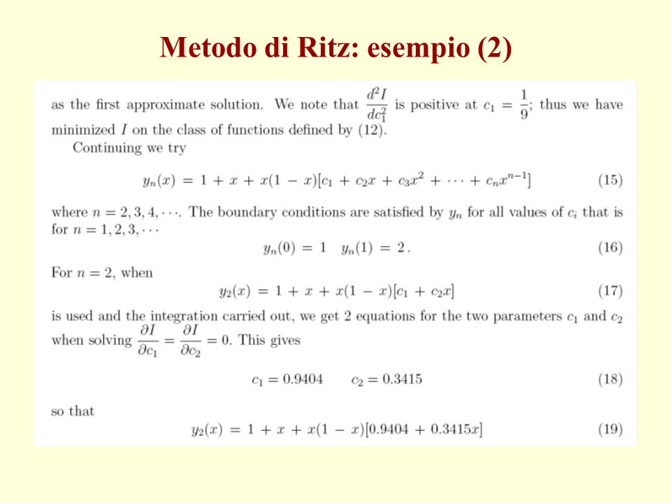 Metodo di Ritz: esempio (2)